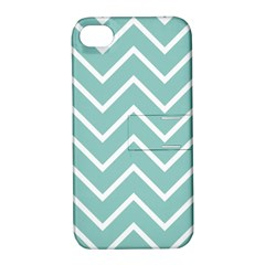 Blue And White Chevron Apple Iphone 4/4s Hardshell Case With Stand