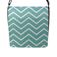 Blue And White Chevron Flap Closure Messenger Bag (Large)