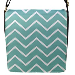Blue And White Chevron Flap Closure Messenger Bag (Small)