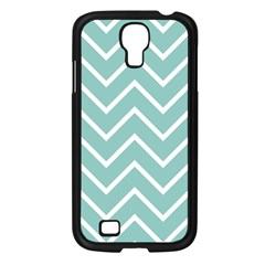 Blue And White Chevron Samsung Galaxy S4 I9500/ I9505 Case (Black)