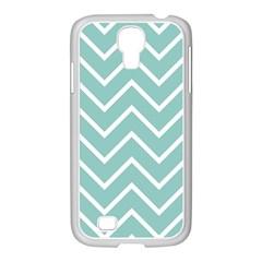 Blue And White Chevron Samsung Galaxy S4 I9500/ I9505 Case (white)
