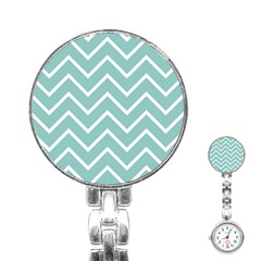 Blue And White Chevron Stainless Steel Nurses Watch