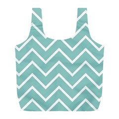 Blue And White Chevron Reusable Bag (L)