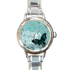 Paris Butterfly Round Italian Charm Watch