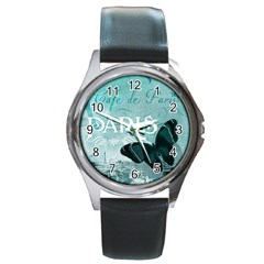 Paris Butterfly Round Leather Watch (Silver Rim)