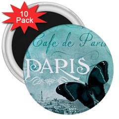 Paris Butterfly 3  Button Magnet (10 Pack)