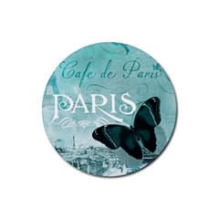 Paris Butterfly Drink Coasters 4 Pack (Round)