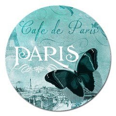 Paris Butterfly Magnet 5  (Round)