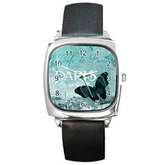 Paris Butterfly Square Leather Watch
