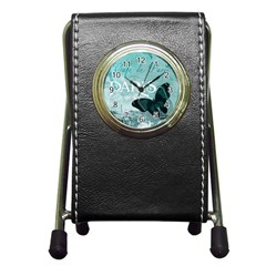 Paris Butterfly Stationery Holder Clock