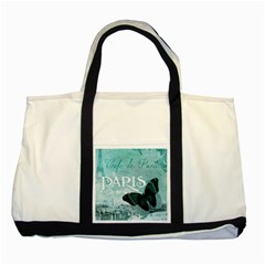 Paris Butterfly Two Toned Tote Bag