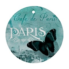 Paris Butterfly Round Ornament (two Sides)