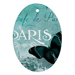 Paris Butterfly Oval Ornament (two Sides)