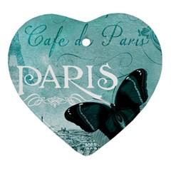 Paris Butterfly Heart Ornament (Two Sides)