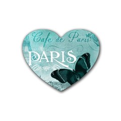 Paris Butterfly Drink Coasters 4 Pack (Heart)