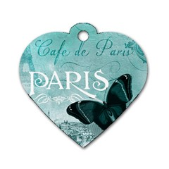 Paris Butterfly Dog Tag Heart (Two Sided)
