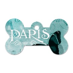 Paris Butterfly Dog Tag Bone (two Sided)