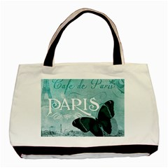 Paris Butterfly Twin Sided Black Tote Bag