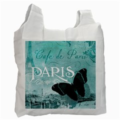 Paris Butterfly White Reusable Bag (One Side)