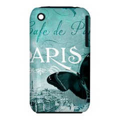 Paris Butterfly Apple Iphone 3g/3gs Hardshell Case (pc+silicone)
