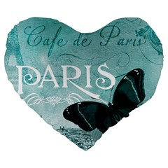 Paris Butterfly 19  Premium Heart Shape Cushion