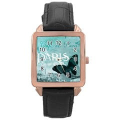 Paris Butterfly Rose Gold Leather Watch