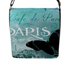 Paris Butterfly Flap Closure Messenger Bag (Large)