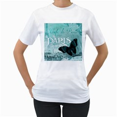 Paris Butterfly Women s T Shirt (white)