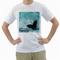 Paris Butterfly Men s T Shirt (white)