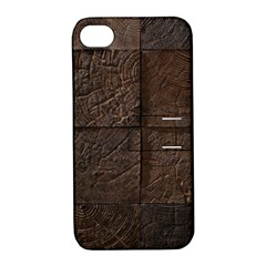 Wood Mosaic Apple Iphone 4/4s Hardshell Case With Stand