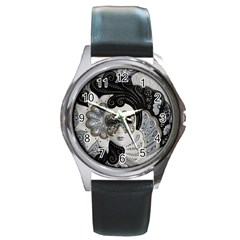 Venetian Mask Round Leather Watch (Silver Rim)