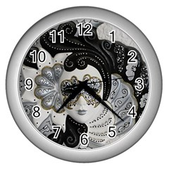 Venetian Mask Wall Clock (silver)
