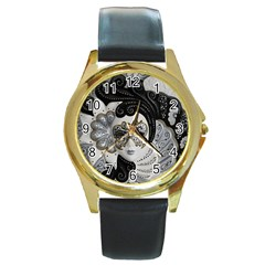 Venetian Mask Round Leather Watch (gold Rim)