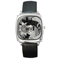 Venetian Mask Square Leather Watch