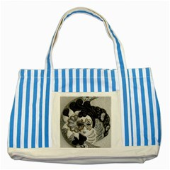 Venetian Mask Blue Striped Tote Bag