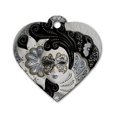 Venetian Mask Dog Tag Heart (One Sided)