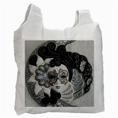 Venetian Mask White Reusable Bag (one Side)
