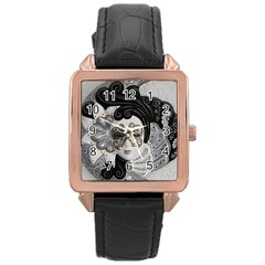 Venetian Mask Rose Gold Leather Watch