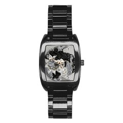 Venetian Mask Stainless Steel Barrel Watch