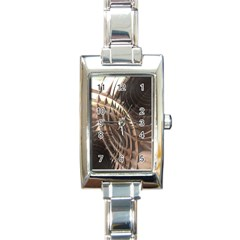 Abstract Copper Metallic Texture Rectangle Italian Charm Watch