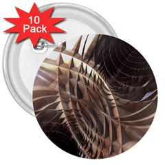 Abstract Copper Metallic Texture 3  Button (10 pack)
