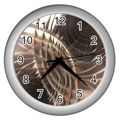 Abstract Copper Metallic Texture Wall Clock (Silver)