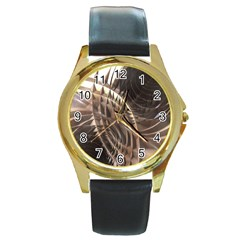 Abstract Copper Metallic Texture Round Gold Metal Watch