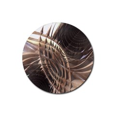 Abstract Copper Metallic Texture Rubber Coaster (Round)