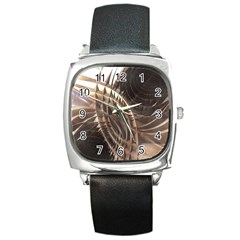 Abstract Copper Metallic Texture Square Metal Watch