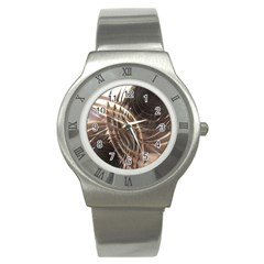 Abstract Copper Metallic Texture Stainless Steel Watch