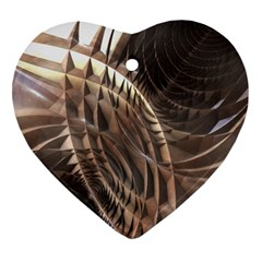 Abstract Copper Metallic Texture Heart Ornament (Two Sides)