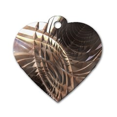Copper Metallic Dog Tag Heart (two Sides)