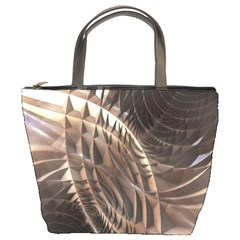 Abstract Copper Metallic Texture Bucket Bag
