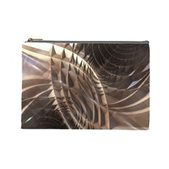 Abstract Copper Metallic Texture Cosmetic Bag (Large)